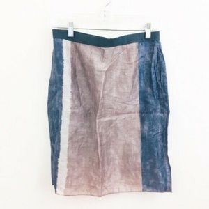 LOFT Brushed Linen Watercolor Skirt 6